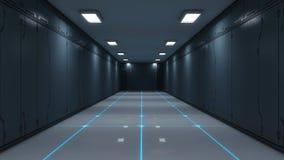 Modern och futuristisk rymdskeppkorridor Arkivfoton