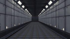 Modern och futuristisk rymdskeppkorridor Arkivfoto