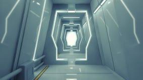 Modern och futuristisk rymdskeppkorridor Fotografering för Bildbyråer
