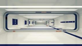 Modern och futuristisk rymdskeppkorridor Arkivbilder