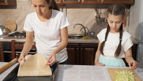 Modern och hennes tonåriga dotter lagar mat äppelpajapfelstrudel tillsammans i köket lager videofilmer