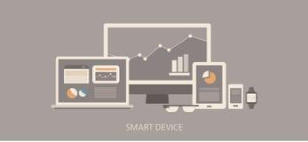 Modern och klassisk smart apparatlägenhetillustration Arkivbild