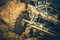 Modern Off Road Car. On Muddy Trail Road. Motorsport Theme stock images