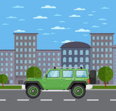 Modern off road car in urban landscape Royalty Free Stock Images