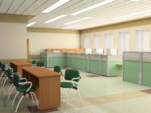Modern office. The modern office interior design (3d render Royalty Free Stock Photography