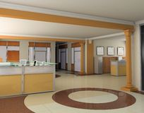 Modern office. The modern office interior design (3d render Stock Photography