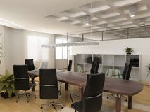 The modern office. Interior design (3d render Royalty Free Stock Photo