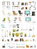Modern Office Accessories Cartoon Set Royalty Free Stock Photos
