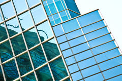 Modern office architectur at blue glass wall backgrounds Royalty Free Stock Photo