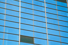 Modern office architectur at blue glass wall backgrounds Royalty Free Stock Images