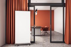 Modern office with banner. Modern orange office interior with empty banner, curtains and glass door. Mock up, 3D Rendering stock illustration