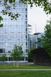 Modern office block in landscaped grounds Stock Image