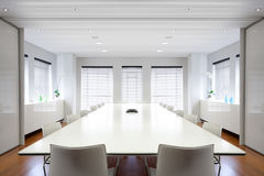 Modern office boardroom filled with light. Modern office boardroom filled with light - landscape interior Royalty Free Stock Photos