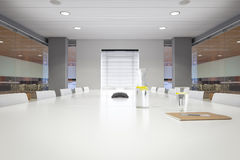 Modern office boardroom with notepad. Modern office boardroom with notepad - landscape interior Stock Photos
