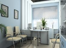 Modern office of the bookkeeper. Modern study of the chief 3d image Royalty Free Stock Image