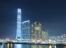 Modern office buidling in Hong Kong. Hong Kong City at night Stock Images