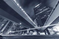 Modern office buidling in Hong Kong. Night Traffic in Hong Kong City Stock Image