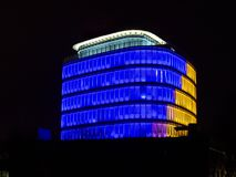 Modern office building. With lights at night. Lighting futuristic building stock photo
