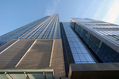 Modern office building. Low angle view looking to top of modern office building with windows Royalty Free Stock Image