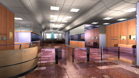 Modern office building. Realistic 3d interior of modern office building lobby with reception desk, barrier and spacious foyer