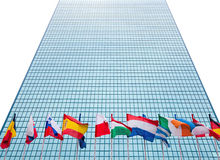 Modern office building with different european flags. Stock Photo