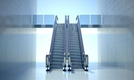 Modern office building and escalator stairs royalty free illustration
