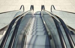 Modern office building and escalator stairs Stock Images