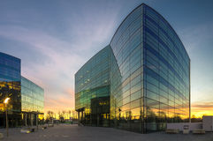 Modern office building in the evening Stock Photos