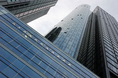 Modern office building facade. A modern and futuristic office building facade stock image
