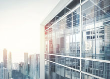 Modern office building facade. Modern office building with facade of glass stock photos