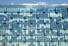 Modern office building glass wall front view close-up Stock Photo