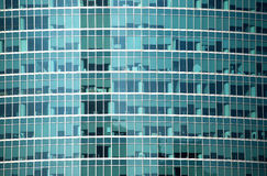 Modern office building glass wall front view close-up Stock Photos