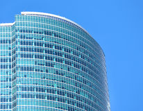 Modern office building glass wall top section closeup Royalty Free Stock Photos