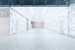 Modern business hall. Modern office building hall with triangular glass pattern on walls and doors. 3D Rendeirng Royalty Free Stock Image