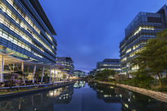 Modern office building. In Hong Kong city at dusk stock photography
