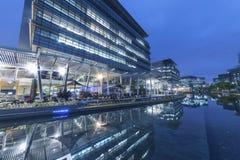 Modern office building in Hong Kong city. At dusk stock photo