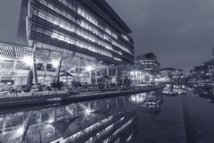 Modern office building in Hong Kong city. At night royalty free stock images