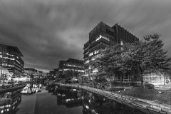 Modern office building in Hong Kong city. At night stock images