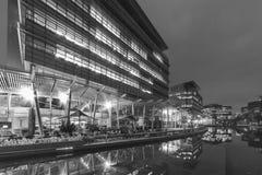 Modern office building in Hong Kong city. At night stock photos