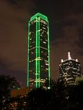 Modern Office Building at Night. Modern office building outlined in lights at night. Dallas, Texas royalty free stock photography