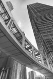 Modern office building and pedestrian walkway Stock Photo