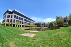 Modern Office building with Pond Stock Image