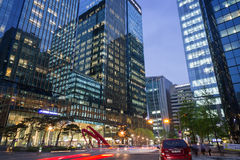 Modern office building in Seoul at dusk Royalty Free Stock Photos