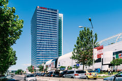 Modern Office Building And Shopping Mall In North District Of Bucharest City. BUCHAREST, ROMANIA - MAY 18, 2017: Modern Office Building And Shopping Mall In Stock Images