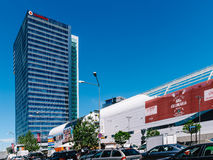Modern Office Building And Shopping Mall In North District Of Bucharest City. BUCHAREST, ROMANIA - MAY 18, 2017: Modern Office Building And Shopping Mall In Stock Image