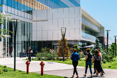 Modern Office Building And Shopping Mall In North District Of Bucharest City. BUCHAREST, ROMANIA - MAY 18, 2017: Modern Office Building And Shopping Mall In Stock Photo