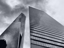 Modern office building skyscrapers. Upward view royalty free stock image