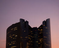 Modern office building at sunset. Modern skycraper office building at sunset at La Defense in Paris royalty free stock photography