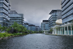 Modern office building before typhoon Stock Images