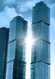 Modern office buildings. Against the shining sun stock images